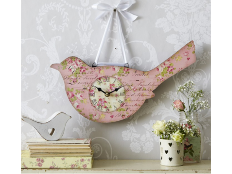 "Розовые цветочные часы ""Птицы"""