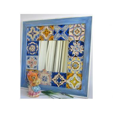 Зеркало с расписной керамикой