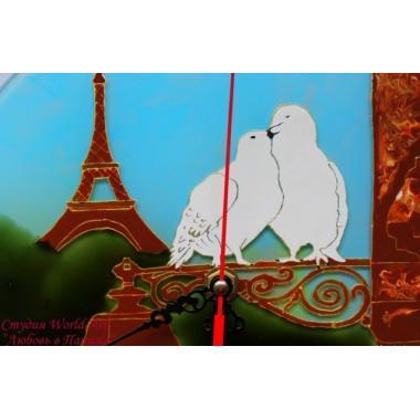 """Витражные часы """"Любовь в Париже"""""""