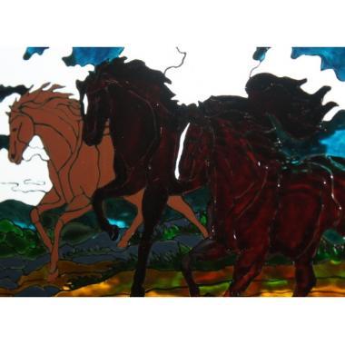"""Картина на стекле """"Лошади"""""""